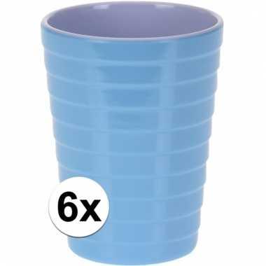Camping 6 onbreekbare drinkbekers blauw 300 ml kopen
