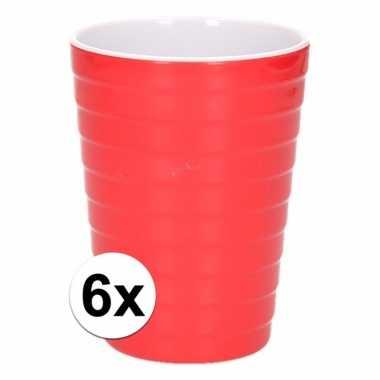 Camping 6 onbreekbare drinkbekers rood 300 ml kopen