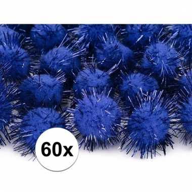 Camping 60x kobalt blauwe decoratie pompons 20 mm kopen