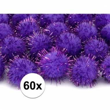 Camping 60x paarse decoratie pompons 20 mm kopen