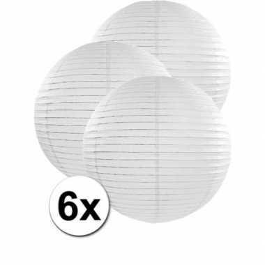Camping 6x bolvormige bruiloft lampionnen wit van 50 cm kopen