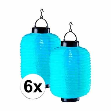 Camping 6x tuin / balkon lampionnen op zonne energie blauw kopen