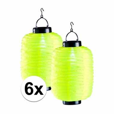 Camping 6x tuin / balkon lampionnen op zonne energie geel kopen
