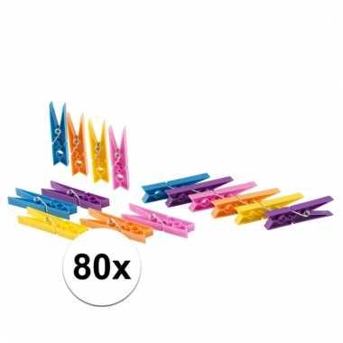 Camping 80x gekleurde wasknijpers van plastic kopen