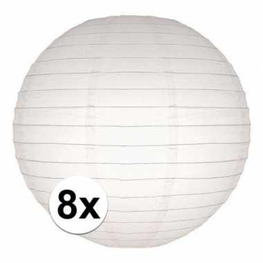 Camping 8x bol lampionnen in het wit 25 cm kopen