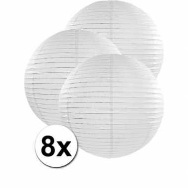 Camping 8x bolvormige bruiloft lampionnen wit van 50 cm kopen