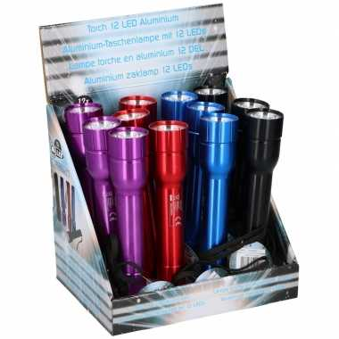 Camping aluminium led zaklampje blauw 20 cm kopen