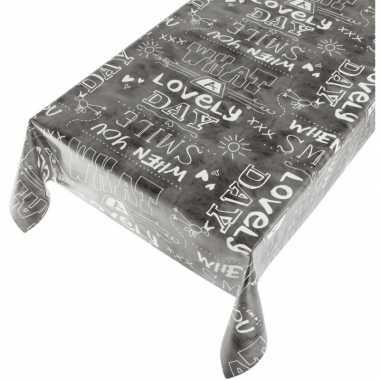 Camping antraciet tafellaken vrolijke tekst print 140 x 240 cm kopen