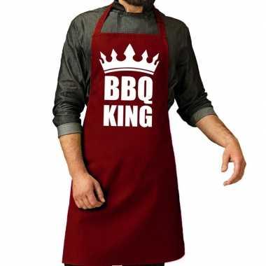 Camping bbq king barbeque schort / keukenschort bordeaux rood voor he