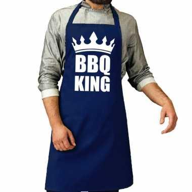 Camping bbq king barbeque schort / keukenschort kobalt blauw voor her