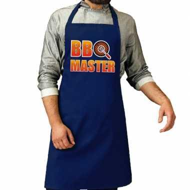 Camping bbq master barbeque schort /keukenschort kobalt blauw voor he