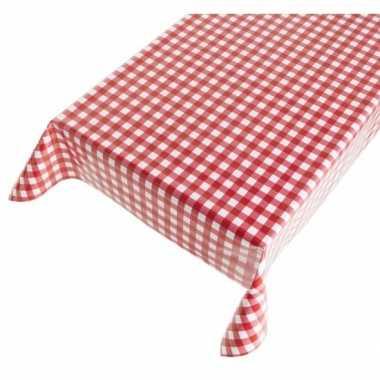 Camping blauw tafellaken met rode ruitjes 140 x 170 cm kopen