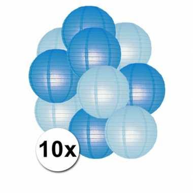 Camping  Blauwe en lichtblauwe feest lampionnen 10x kopen