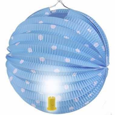 Camping blauwe feest lampion met witte stippen 20 cm kopen