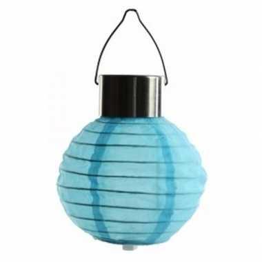 Camping blauwe lampion op zonne energie voor buiten kopen