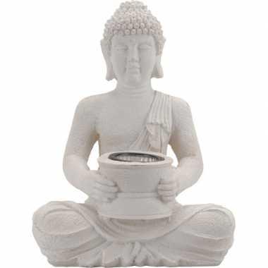 Camping boeddha tuinbeeld met lampje 31 cm kopen