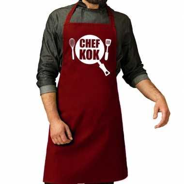 Camping chef kok barbeque schort / keukenschort bordeaux rood voor he