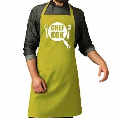 Camping chef kok barbeque schort / keukenschort lime groen voor heren