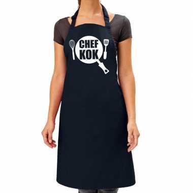 Camping chef kok barbeque schort / keukenschort navy blauw dames kope