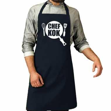 Camping chef kok barbeque schort / keukenschort navy voor heren kopen