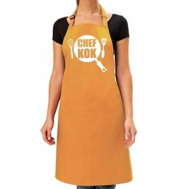 Camping chef kok barbeque schort / keukenschort oker geel dames kopen