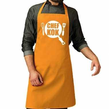 Camping chef kok barbeque schort / keukenschort oker geel voor her ko