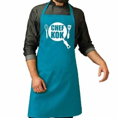 Camping chef kok barbeque schort / keukenschort turquoise blauw voor