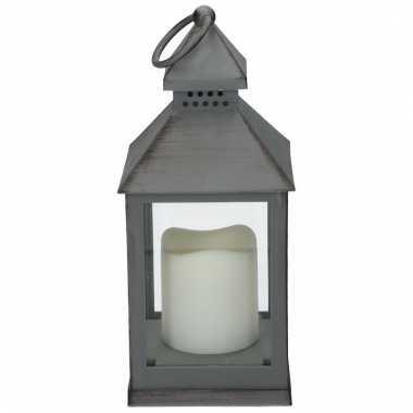 Camping decoratie lantaarn grijs met led lamp 24 cm kopen