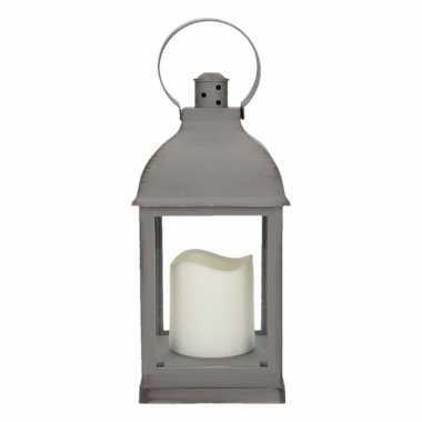 Camping decoratie lantaarn grijs met led lamp 24 cm type 2 kopen