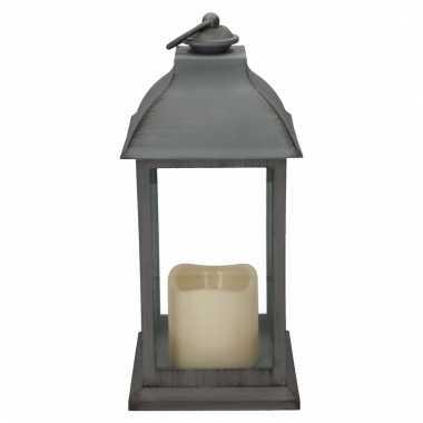 Camping decoratie lantaarn grijs met led lamp 30 cm kopen