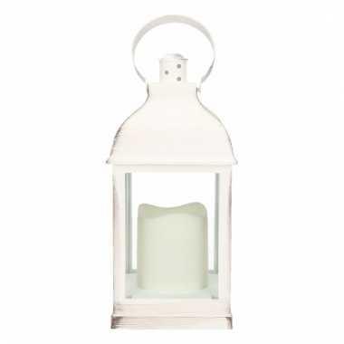 Camping decoratie lantaarn wit met led lamp 24 cm type 2 kopen