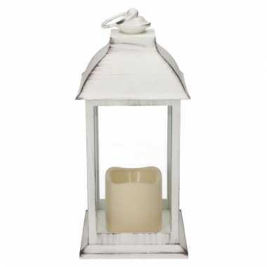 Camping decoratie lantaarn wit met led lamp 30 cm kopen