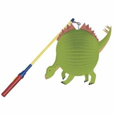 Camping dinosaurus feestje lampion 25 cm met lampionstokje kopen