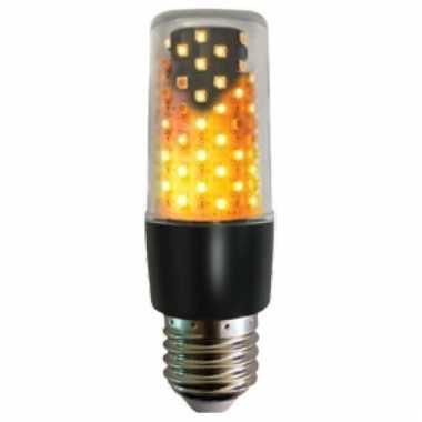 Camping firelamp vuureffect lamp/peertje zwart e27 fitting onder of b