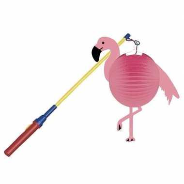 Camping flamingo feestje lampion 25 cm met lampionstokje kopen