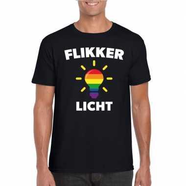 Camping flikker licht-shirt met regenboog lampje zwart heren kopen
