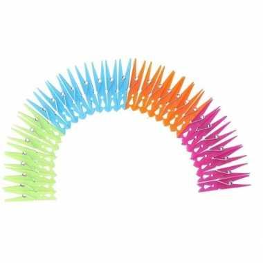 Camping gekleurde wasknijpers van plastic 120 stuks kopen