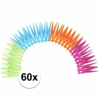 Camping gekleurde wasknijpers van plastic 60 stuks kopen