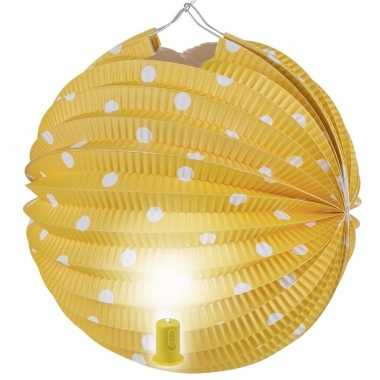 Camping gele feest lampion met witte stippen 20 cm kopen