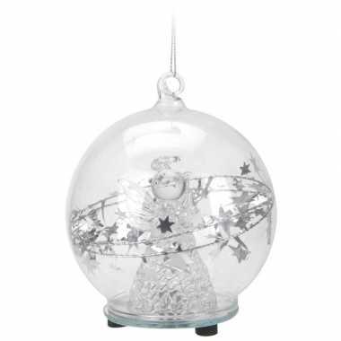 Camping glazen kerstbal 8 cm kerstengel met led lampjes kopen