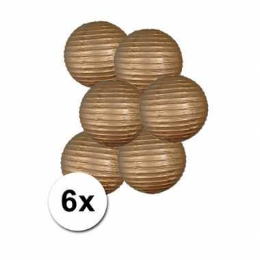 Camping  Gouden bol lampionnen 25 cm 6 stuks kopen