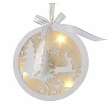 Camping kerstboomhanger/kersthanger witte bal met rendieren print 12