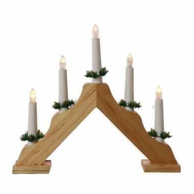 Camping kerstdiner versiering kaarsenbrug hout met led lampjes snoerloos kopen
