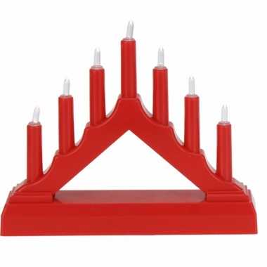 Camping kerstdiner versiering kaarsenbrug rood met led lampjes snoerl