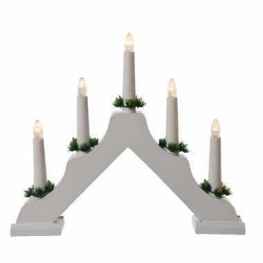 Camping kerstdiner versiering kaarsenbrug wit met led lampjes snoerloos kopen