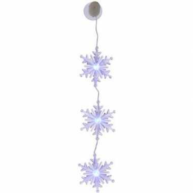 Camping kersthanger/raamdecoratie sneeuwvlok slinger 45 cm met gekleu