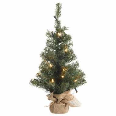 Camping kerstmis nep dennenboompje 75 cm met 35 lampjes warm wit kopen
