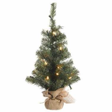 Camping kerstmis nep dennenboompje 90 cm met 50 lampjes warm wit kopen