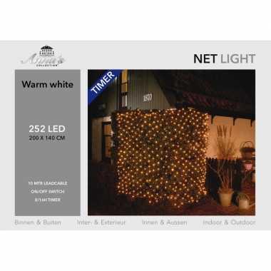 Camping kerstverlichting lichtnet met timer 252 lampjes warm wit 200 cm kopen