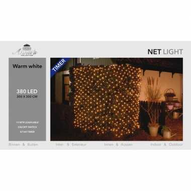 Camping kerstverlichting lichtnet met timer 384 lampjes warm wit 3 x 3 m kopen